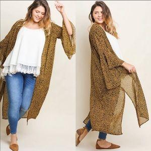 Wild Side Kimono Leopard bell sleeves